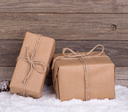 Two Brown Packages Stock Photos
