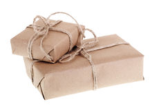 Two Brown Packages Stock Photography