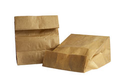 Two brown paper bag lunch(with clipping path) Stock Images