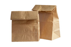 Two Brown Paper Bag Lunch(with clipping path) Royalty Free Stock Photos