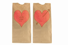Two Brown paper lunch bags with heart and I love y Royalty Free Stock Photo
