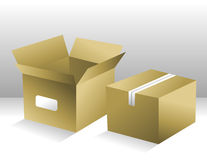Two Brown Shipping Boxes Royalty Free Stock Photos
