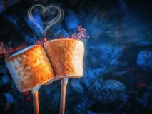 Two brown sweet marshmallows roasting over fire flames. Smoke in form of hearts. Marshmallow on skewers roasted on. Charcoals. Sweet love concept Royalty Free Stock Photography