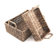 Two brown wicker baskets isolated Stock Photos