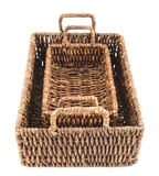 Two brown wicker baskets isolated Royalty Free Stock Photography