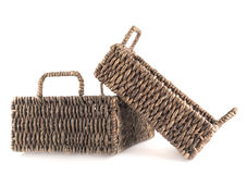Two brown wicker baskets isolated Royalty Free Stock Photos
