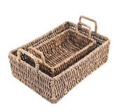 Two brown wicker baskets isolated Royalty Free Stock Images