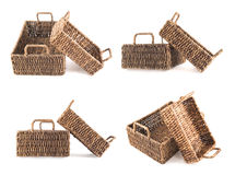 Two brown wicker baskets isolated Stock Image