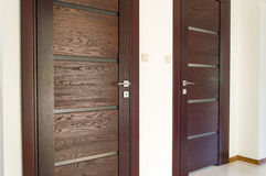 Two brown wooden door. Royalty Free Stock Images