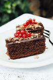 Two brownies with redberries on top, served in a plate on a wooden table. Two brownies with redberries on top, served in a white plate with silver fork on a Royalty Free Stock Photos