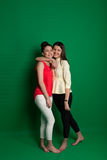 Two brunette girlfriends posing on green background Royalty Free Stock Photo