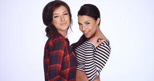 Two Brunette Girls in Casual Clothes Posing. In Studio on Clean Background  Smiling  Slow Motion Video stock footage