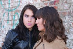 Two brunette girls looking at  different sides. Stock Photos