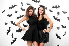 Two brunette girls wearing black dresses have fun on the background of the wall with bats and spiders. Halloween party stock photography