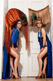 Two brunettes with an tall artistic hair. Do Royalty Free Stock Photography