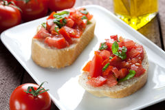 Two bruschetta stock photography