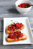 Two bruschetta on a plate Royalty Free Stock Photography