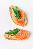 Two bruschettes with arugula in fillet of tuna and green sauce. Close-up, white background stock images