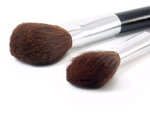 Two brushes for make-up. On white background close up Stock Photos