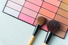 Two brushes on make up palette Stock Photo