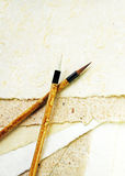 Two brushes on a paper Royalty Free Stock Photo