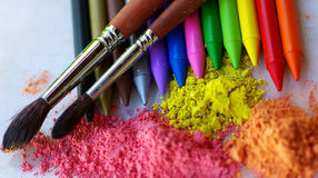 Two brushes and pencils. Stock Image