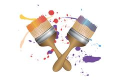 Two brushes with splashes of color royalty free illustration