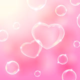 Two bubble hearts. Pink valentines background with soap bubbles in the form of Hearts, illustration Stock Photos