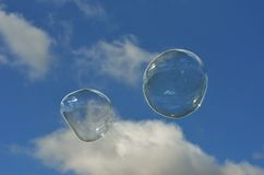 Two bubbles in sky Royalty Free Stock Photo