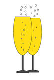 Two bubbly champagne glasses icon vector. Isolated in white background Stock Illustration