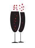 Two bubbly champagne glasses icon vector. Isolated in white background Vector Illustration