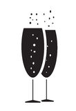 Two bubbly champagne glasses icon vector. Isolated in white background Royalty Free Stock Image