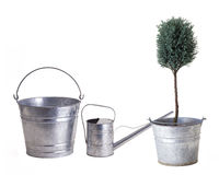 Two buckets one watering can for planting royalty free stock image
