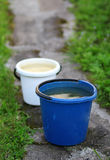 Two buckets with water standing on the road in the garden Royalty Free Stock Image