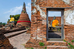 Two Buddha statue in Antique Sanctuary. Two Buddha statue in Antique Sanctuary in Ayutthaya Historical Park, Thailand Stock Image