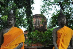 Two Buddha statues in old temple Royalty Free Stock Photography