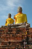 Two Buddhas. Buddha at Wat Chai Watthanaram, Ayutthaya, Thailand Stock Photo