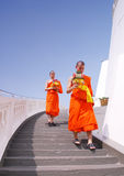 Two buddhist monks. Carried praying equipment while they were going downstairs from the top of Golden Mount Temple Stock Photos