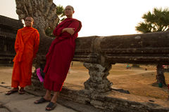 Two Buddhist monks of Angkor Wat, Siem Reap, Cambodia Royalty Free Stock Photo