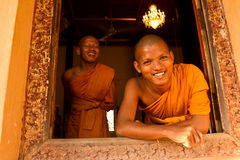 Two Buddhist monks of Wat Damnak, Siem Reap, Cambodia Stock Images