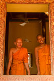 Two Buddhist monks of Wat Damnak, Siem Reap, Cambodia Royalty Free Stock Photography