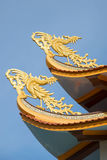 Two Buddhist roosters on a roof of the Buddhist temple. Phan Thiet Royalty Free Stock Photo
