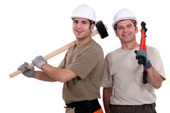 Two builder friends Stock Photography