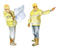 Two of the Builder on a white background stock photography