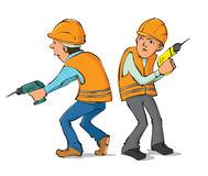 Two builders with drills Royalty Free Stock Images