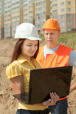 Two builders in hardhat Stock Photo