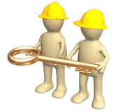 Two builders, holding in hands a gold key Stock Photo