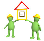 Two builders, holding in hands the stylized house Royalty Free Stock Photos