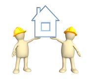 Two builders, holding in hands the stylized house Royalty Free Stock Image