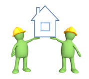 Two builders, holding in hands the stylized house Stock Photography